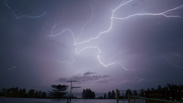 So-called anvil crawling lightning from storms passing over Sydney in February 2019.