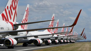 Virgin Australia planes sit idle at Brisbane Airport during the pandemic.