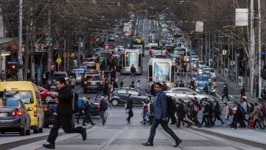 Peak hour congestion on Collins Street