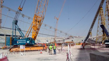 Construction work at the Khalifa Stadium in Doha, Qatar ahead of the 2022 World Cup.
