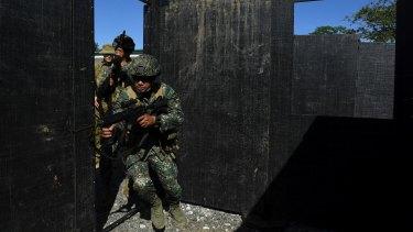 Filipino marines during urban combat training.