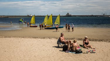 St Kilda beach on the first day of March as the temperature hits 30 degrees.