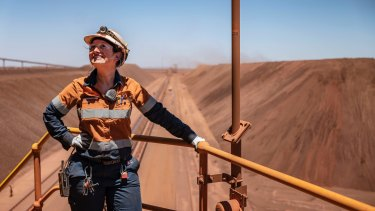 Nicole O'Keefe at the BHP Jimblebar reclaimer in the north west of Western Australia is one of the growing number of women in the mining industry.
