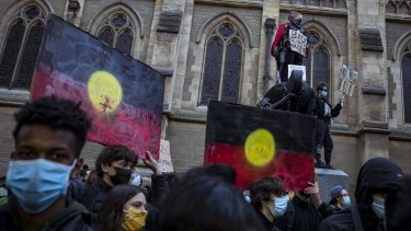 Thousands marched the streets of Melbourne in June last year to protest Indigenous deaths in custody.