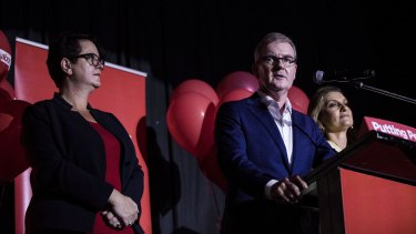 NSW Opposition Leader Michael Daley with his Deputy Penny Sharpe and wife Christina as he concedes the NSW state election.