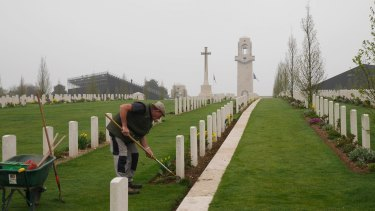 A gardener at the Australian memorial, Sir John Monash Centre, at Villers-Bretonneux in north-eastern France.