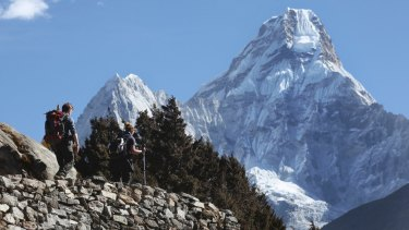 Trekkers make their way to Dingboche, a popular Mount Everest base camp in Pangboche, Nepal.