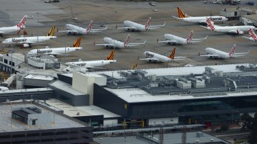 Planes idled at Melbourne International Airport this week.