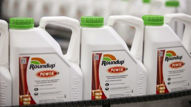 Bottles of Roundup at a manufacturing facility in Europe.