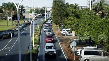 Long queues are a daily occurrence on the Queensland-NSW border.