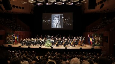 The crowd inside the Opera House Concert Hall for Bob Hawke's memorial service.