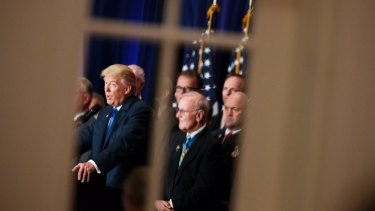 Trump speaks during a campaign event at Trump International Hotel in Washington in 2016.