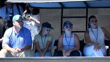 Prime Minister Scott Morrison, daughters Lily and Abbey and wife Jenny watch the match between Maria Sharapova and Ashleigh Barty.