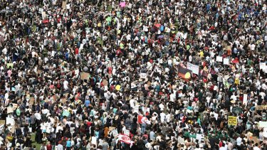 Thousands of people gathered in The Domain, Sydney, to protest inaction on climate change on September 20.