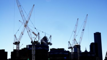 The number of cranes dotted across Melbourne is falling.