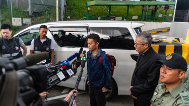Chan Tong-kai talks to the media as he is released from prison on Wednesday.