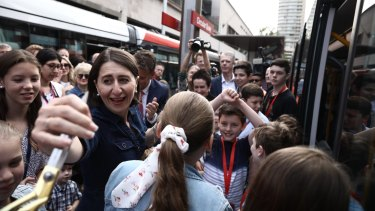 Premier Gladys Berejiklian at the official launch of the new Sydney light rail on December 14, 2019.