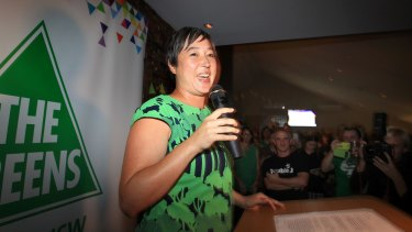 Newtown MP Jenny Leong celebrates her win at the 2015 NSW election.