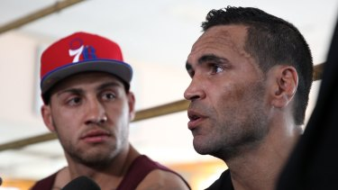 A much younger Blake Ferguson with his cousin Anthony Mundine in 2013.