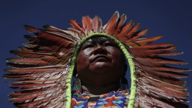 An indigenous chief was among women marching on Tuesday in Brasilia against the policies of Brazilian President Jair Bolsonaro.