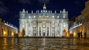 Low Angle View Of St Peter Basilica Against Sky At Night The Vatican.