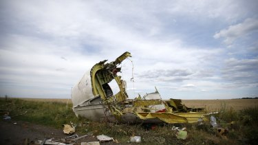 Part of the MH17 wreckage following its downing in 2015.