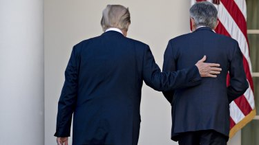 US President Donald Trump, left, and Jerome Powell, US Federal Reserve governor. Trump seems to have turned on his own pick for US Fed chair.