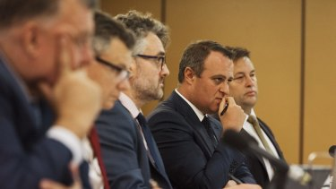 Liberal MP Tim Wilson chairing the franking credit public hearing at Chatswood, Sydney, in February.