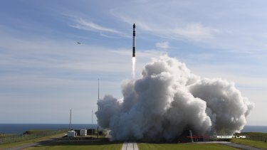 One of Rocket Lab's rockets takes off.