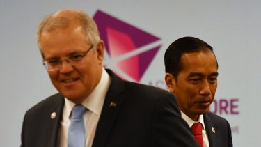 Prime Minister Scott Morrison and Indonesian President Joko Widodo at a bilateral meeting during the 2018 ASEAN Summit in Singapore, last week.