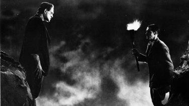 Boris Karloff, left, and Colin Clive in a scene from the 1931 classic film <i>Frankenstein</i>.