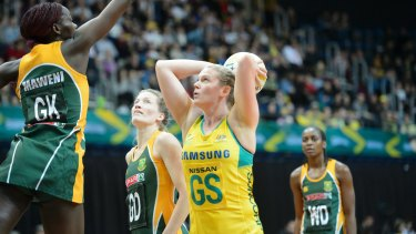 Australian goal shooter Caitlin Thwaites scores for the Diamonds against South Africa. Photo: Sitthixay Ditthavong