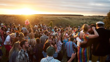 Happy festival-goers at Meredith in 2017.