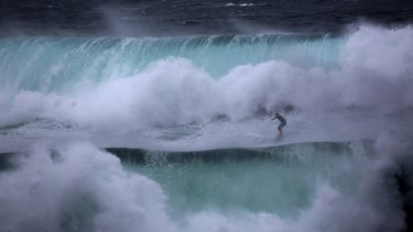 Jeremy Wilmotte takes a wild ride south of Coogee last Sunday.