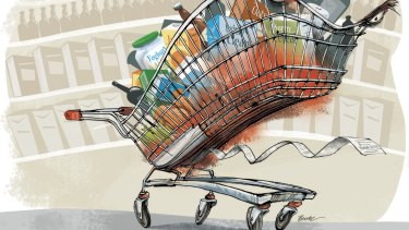 Many of us don't have a regular food budget and one-third of people don't even bother to keep track of their food costs at all. Illustration: Joe Benke