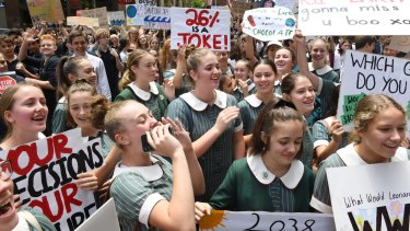 Students at last year's school strike at Martin Place in Sydney.