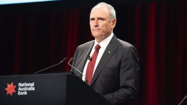 NAB Chairman Ken Henry addresses NAB's 2018 annual general meeting in Melbourne.