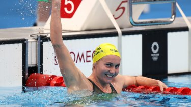 Ariarne Titmus after winning gold in the 400m freestyle final.