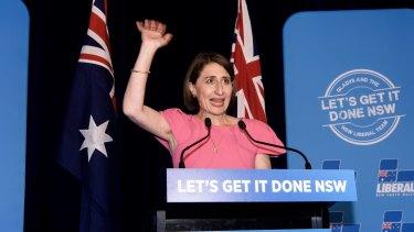 Gladys Berejiklian celebrates her victory in the NSW election.