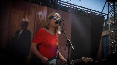 Kim Gordon, formerly of Sonic Youth, performs as Body/Head at the Sugar Mountain Festival in 2015.