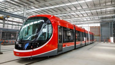 Canberra's first light rail vehicle at its depot in Mitchell. Photo: Sitthixay Ditthavong