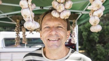 Andris Dinsbergs from Franklin River Garlic at the Meeniyan Garlic Festival.
