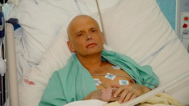 Former Russian spy Alexander Litvinenko in his hospital bed in central London days before his death in November 2006.