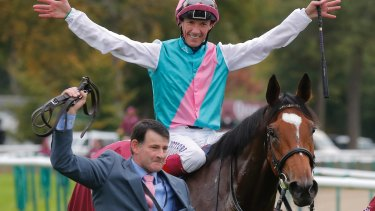 Foreign rival: Italian Lanfranco Dettori aboard British horse Enable after wnning the Qatar Prix de l'Arc de Triomphe at the Chantilly racetrack near Paris, in, 2017.