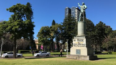 The Captain James Cook statue in Sydney's Hyde Park was defaced, along with others, by protesters who called on changing the date.