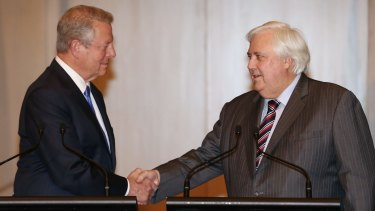 The odd couple that helped save ARENA from the Abbott government's axe in 2014: former US vice-president Al Gore, left, and then-elected MP, coal miner Clive Palmer.