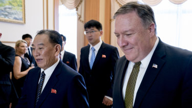 Mike Pompeo, right, and Kim Yong-chol, left, arrive for a lunch on Saturday.