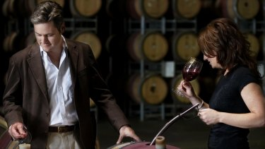 Paul Holmes a Court with chief winemaker Virginia Willcock at Vasse Felix in Cowaramup.
