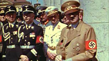 Hitler and a bunch of other Nazis in Munich in 1939.