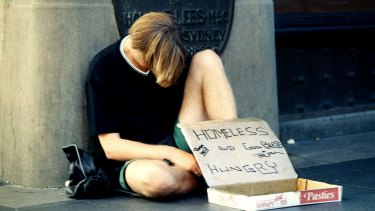 A homeless man appeals for help in Sydney.